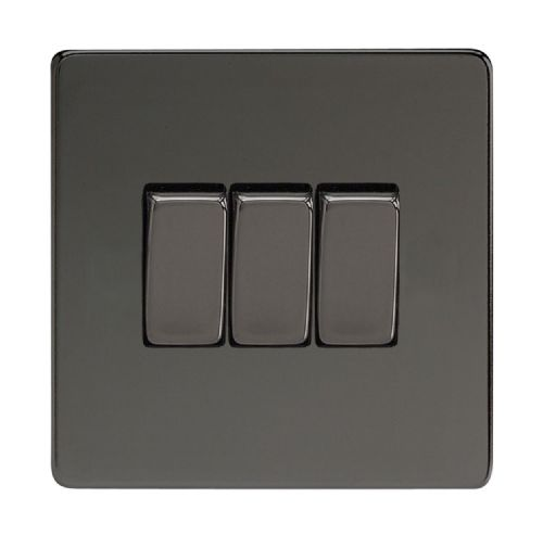 Varilight XDI3S Screwless Iridium Black 3 Gang 10A 1 or 2 Way Rocker Light Switch